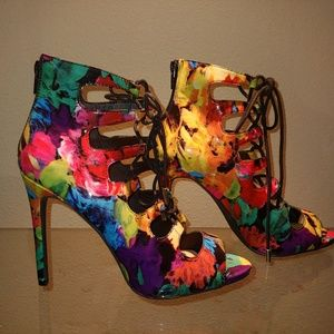 Bright colorful lace up high heels - 8 - B14